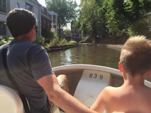 Del and Oliver pedal boating