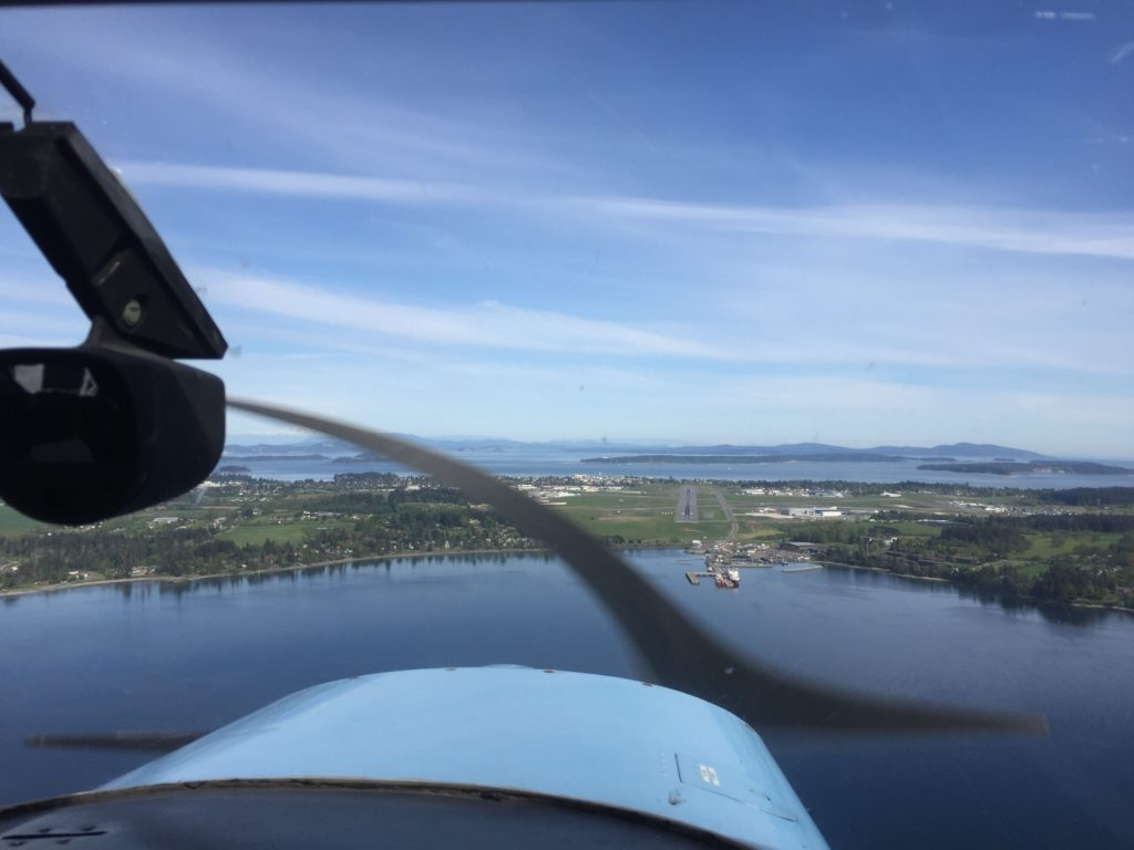 Approaching YYJ's main runway